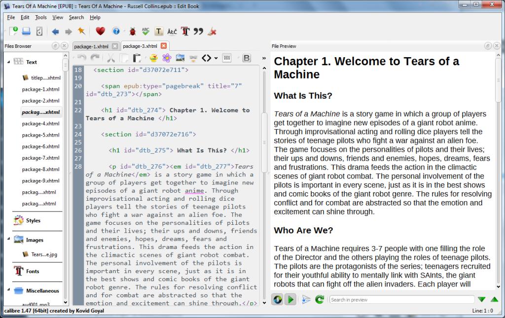 Screenshot of Calibre edit mode.